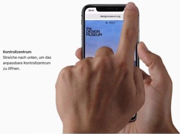 Kontrollzentrum öffnen auf dem iPhone X