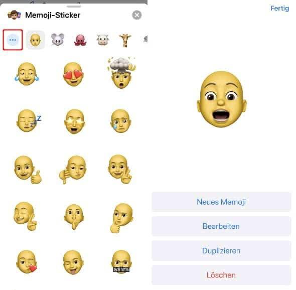 Memoji Sticker anzeigen und Menü aufrufen