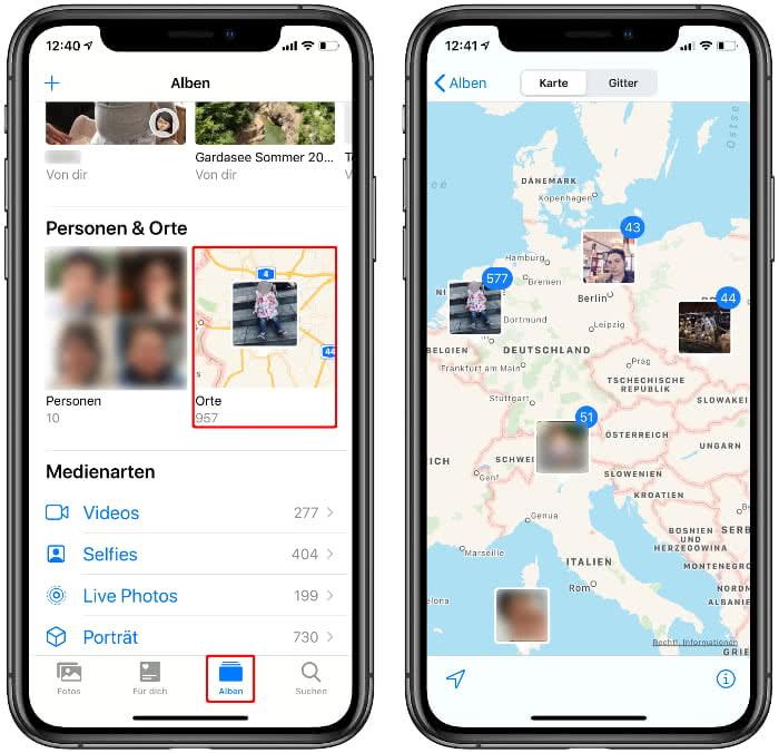 Foto-Orte anzeigen in der Fotos-App