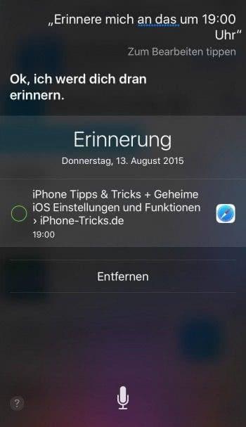 Inhaltsbezogene Erinnerungen mit Siri erstellen