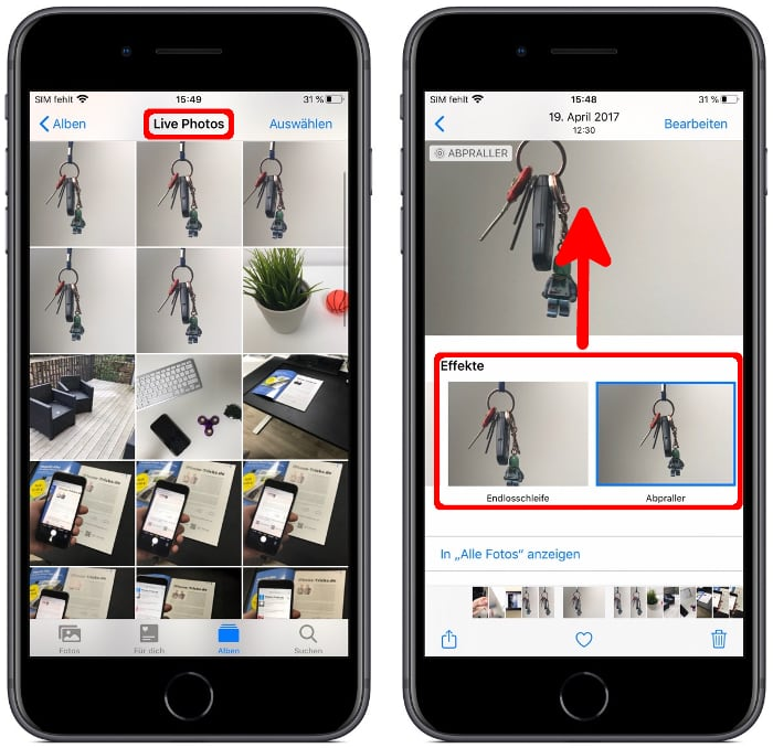 Live Photo Effekte nutzen in der Fotos-App
