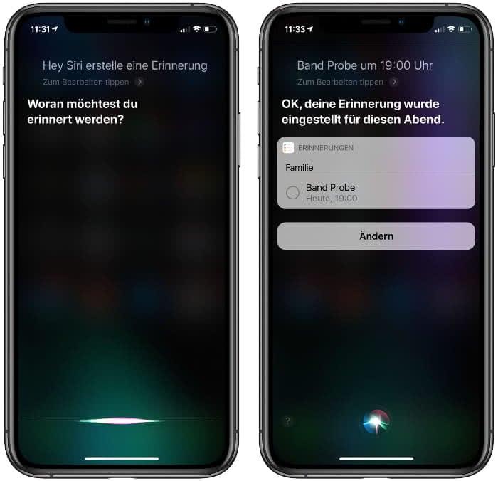 Erinnerung erstellen mit Siri