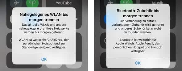 """""""Nahegelegenes WLAN / Bluetooth-Geräte bis morgen trennen"""""""