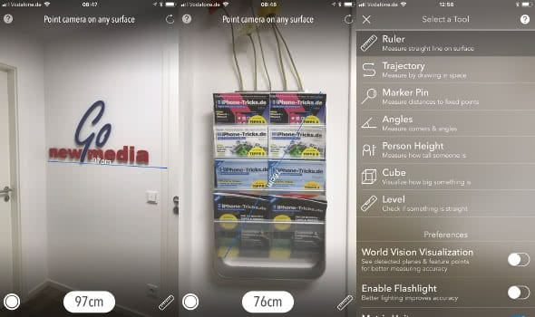 AR Measure Kit-App für das iPhone