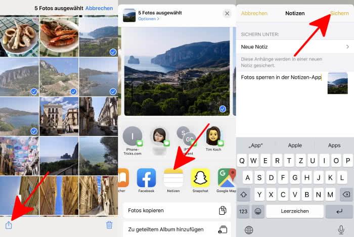 Bestehende Fotos in der Notizen-App sichern