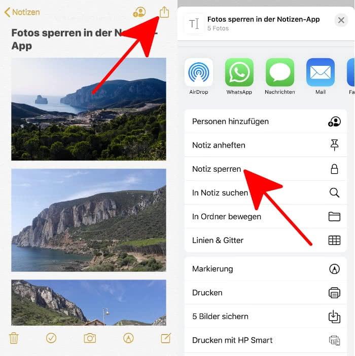 Fotos sperren in Notizen-App