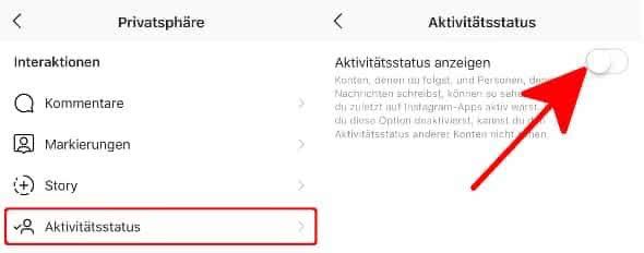 Ausschalten online status Facebook