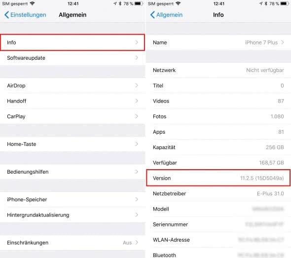 iOS-Version ermitteln am iPhone