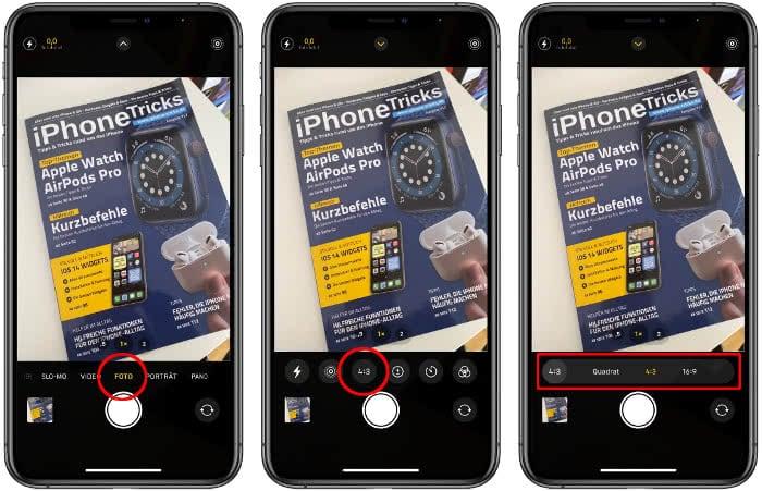 Bildformat ändern in der Kamera-App