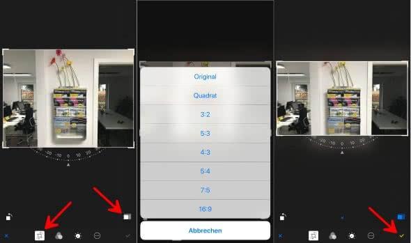 iPhone Bildformat ändern in der Fotos-App