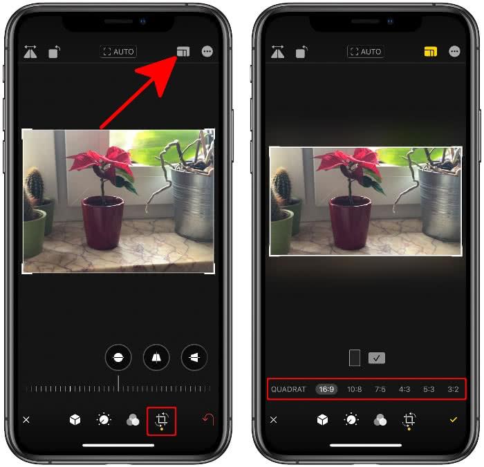 In der Fotos-App auf das Zuschneiden-Symbol tippen und das Icon mit den verschachtelten Vierecken wählen