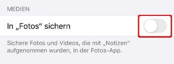 Fotos in der Notizen-App nicht in Fotos-App sichern