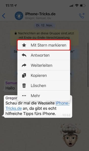 WhatsApp Nachricht mit Stern markieren und als Favorit abspeichern
