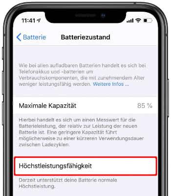 iPhone Höchstleistungsfähigkeit überprüfen