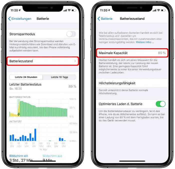 Batteriezustand überprüfen am iPhone