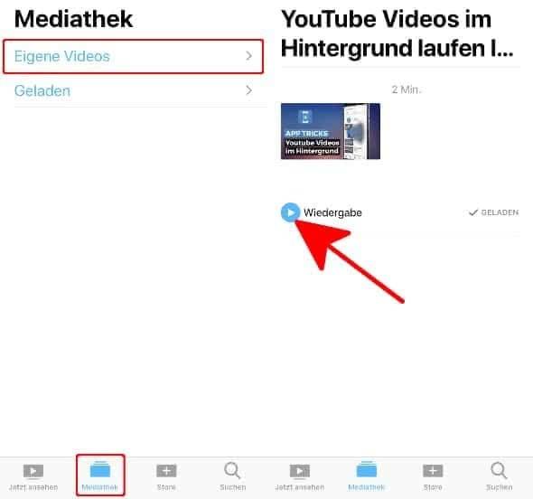 Mit dem Softorino YouTube Converter 2 heruntergeladenes Video in der TV-App auf dem iPhone