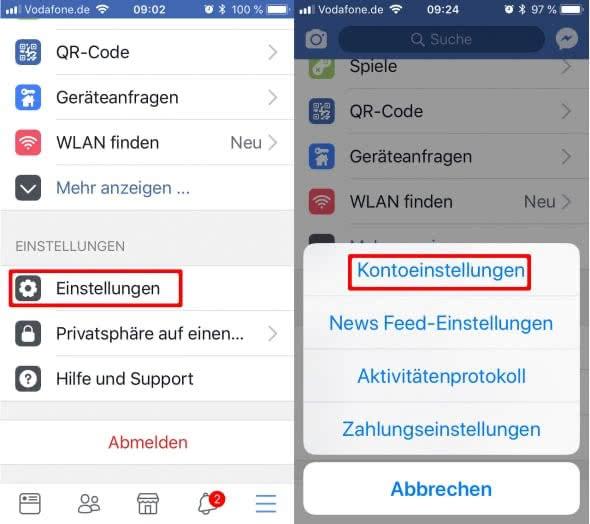 Facebook-Account dauerhaft löschen - Kontoeinstellungen