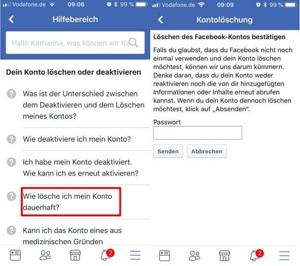 Facebook-Account dauerhaft löschen - Kontolöschung