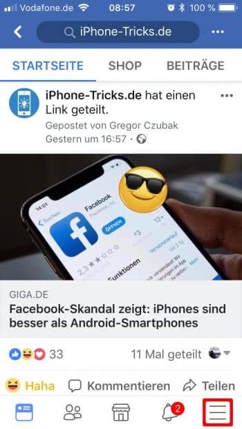 Facebook-Account dauerhaft löschen - Menü