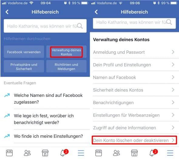 Facebook-Account dauerhaft löschen - Kontoverwaltung
