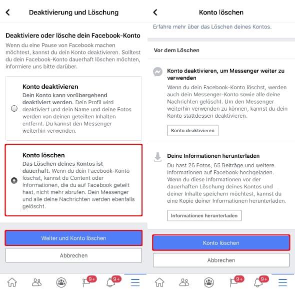 Facebook konto vorübergehend deaktivieren