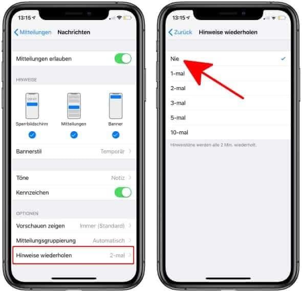 Doppelten Hinweiston für Nachrichten ausschalten auf dem iPhone