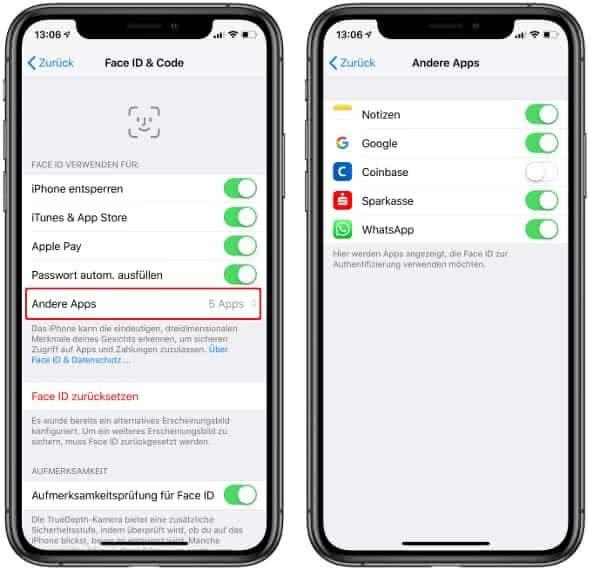 Face ID für bestimmte Apps aktivieren oder deaktivieren