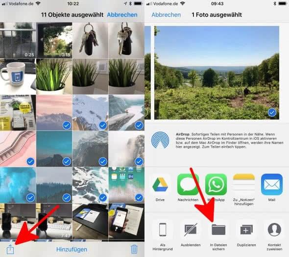 Fotos in iCloud Drive hochladen