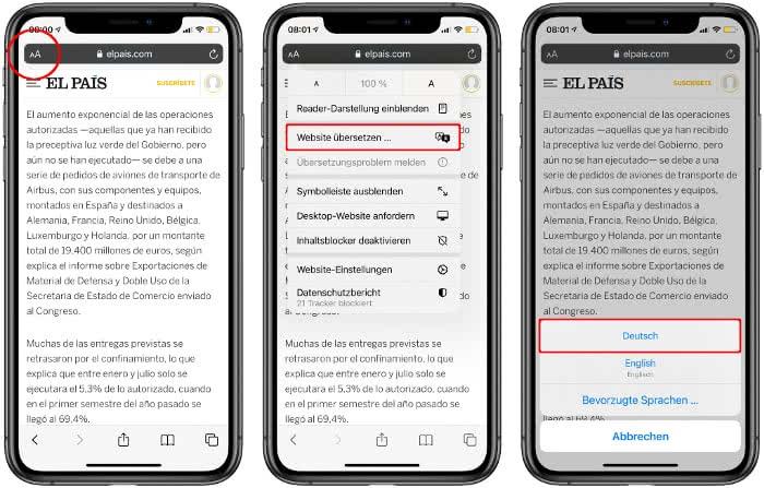Safari Seite übersetzen auf dem iPhone