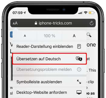 Safari Übersetzer Beispielbild
