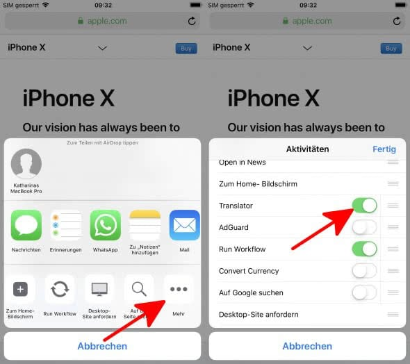 Safari-Webseiten übersetzen auf dem iPhone mit der Microsoft Translator-App