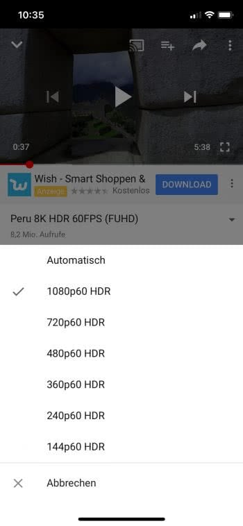 YouTube-Videos in HDR schauen am iPhone X