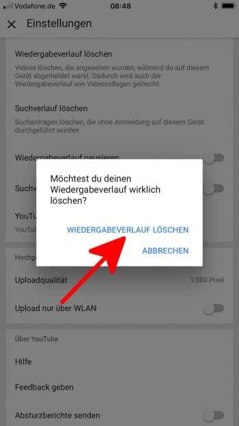Youtube Verlauf löschen auf dem iPhone
