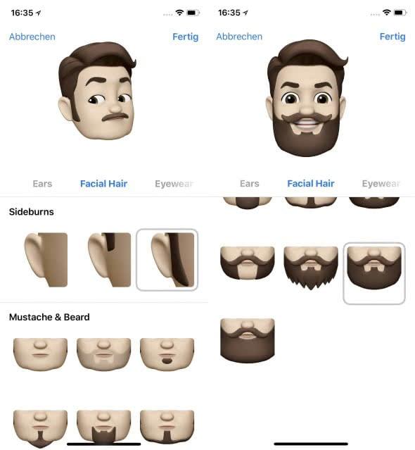 Eigenes Animoji erstellen auf dem iPhone X – Gesichtsbehaarung wählen