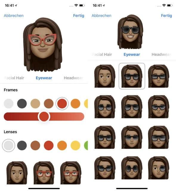 Eigenes Animoji erstellen auf dem iPhone X – Brille wählen