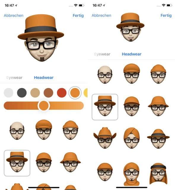 Eigenes Animoji erstellen auf dem iPhone X – Kopfbedeckung wählen