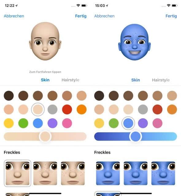 Eigenes Animoji erstellen auf dem iPhone X – Hautfarbe wählen