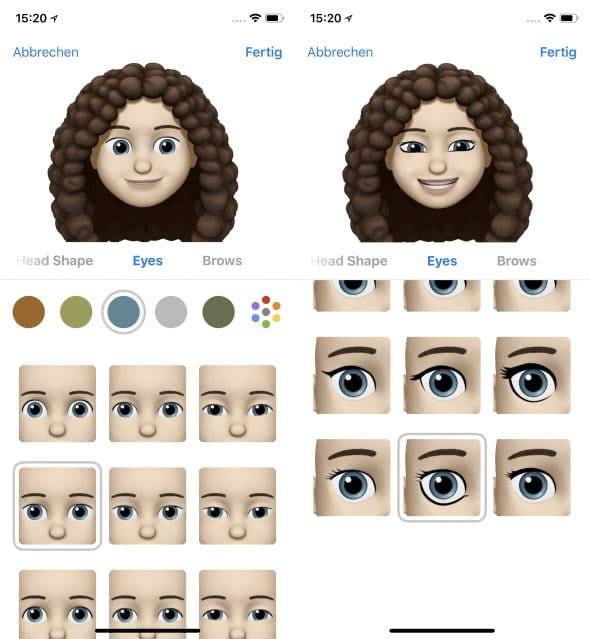 Eigenes Animoji erstellen auf dem iPhone X – Augen wählen