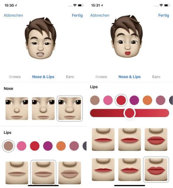 Eigenes Animoji erstellen auf dem iPhone X – Lippen und Nase wählen