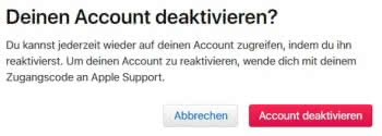 Apple-ID-Account deaktivieren
