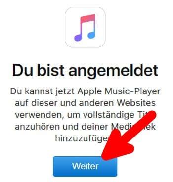 Anmeldung in Apple Music Toolbox war erfolgreich
