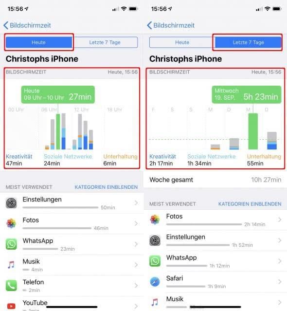 Bildschirmzeit-Funktion am iPhone