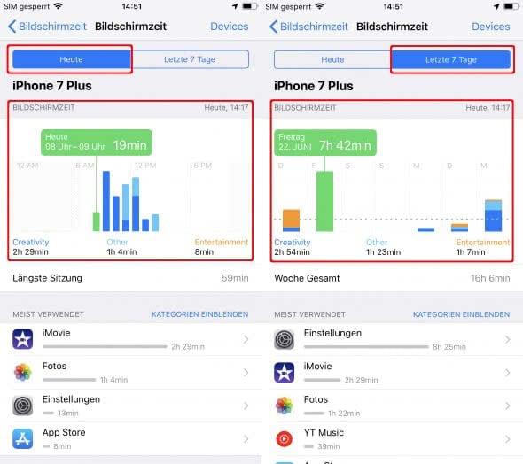 Bildschirmzeit kontrollieren am iPhone