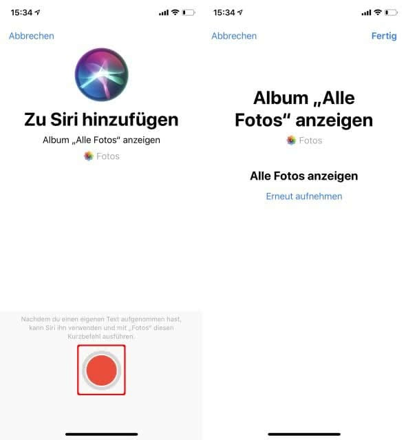 Eigene Siri-Sprachbefehle einsprechen