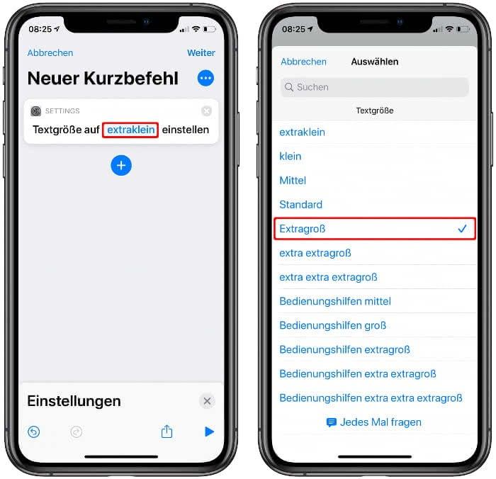 Aktion für eigenen Siri-Kurzbefehl anpassen
