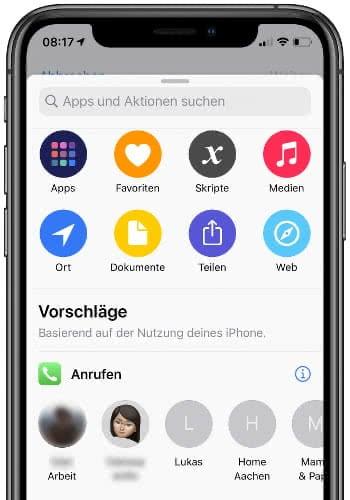 Kategorien und Vorschläge für eigenen Siri-Kurzbefehl