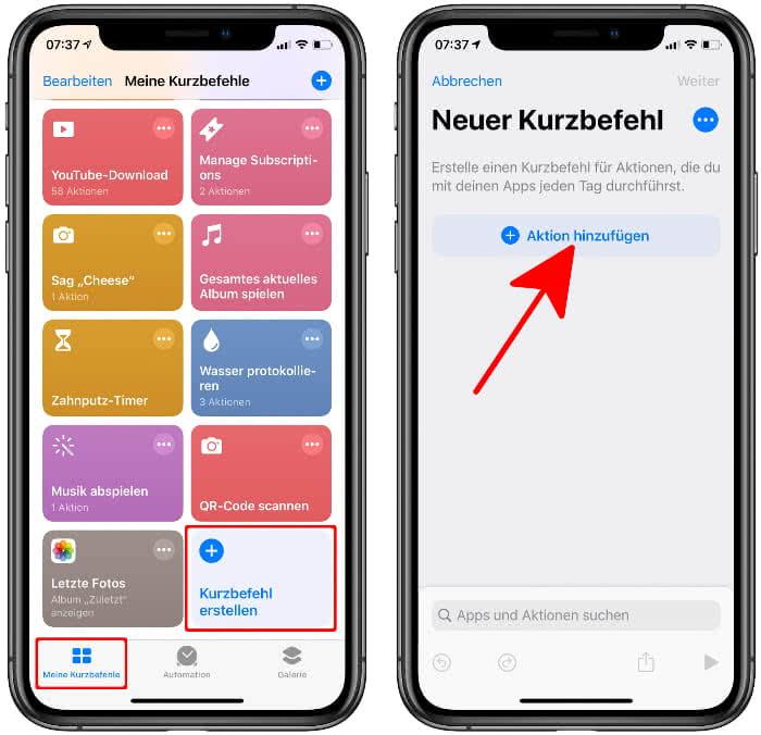 Eigenen Siri-Kurzbefehl erstellen