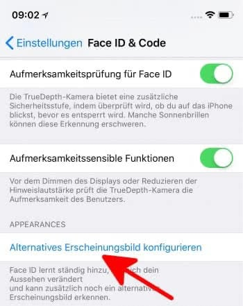 Face ID alternatives Erscheinungsbild festlegen in iOS 12