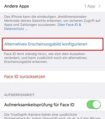 Alternatives Erscheinungsbild konfigurieren für Face ID