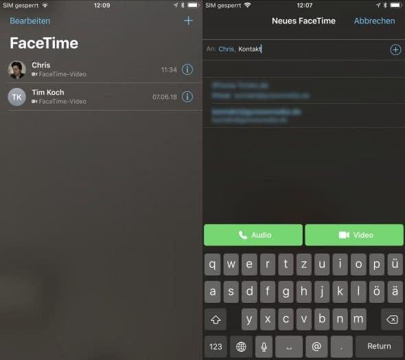FaceTime Gruppenanruf auf dem iPhone starten